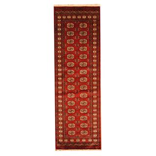 Herat Oriental Pakistan Hand-knotted Tribal Bokhara Red/ Ivory Wool Rug (2'8 x 8')