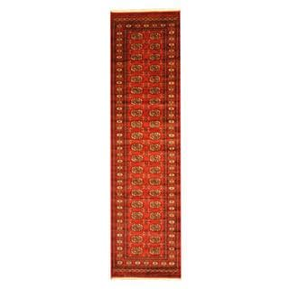 Herat Oriental Pakistan Hand-knotted Tribal Bokhara Red/ Ivory Wool Rug (2'8 x 10')