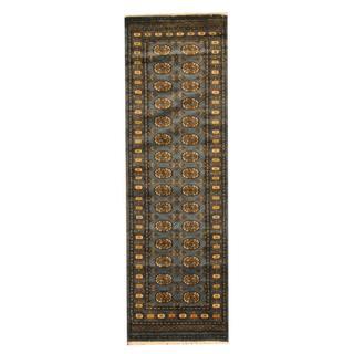 Herat Oriental Pakistan Hand-knotted Tribal Bokhara Grey/ Gold Wool Rug (2'8 x 8')