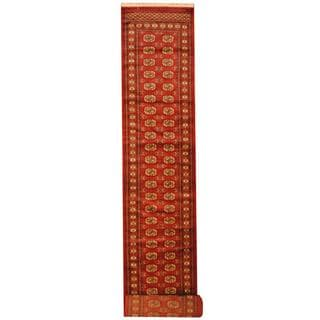 Herat Oriental Pakistan Hand-knotted Tribal Bokhara Red/ Ivory Wool Rug (2'8 x 20')