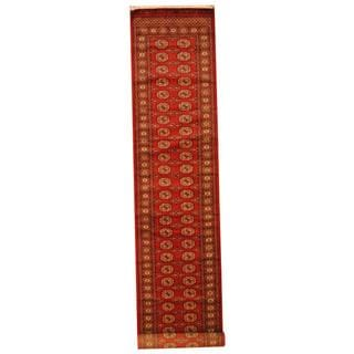 Herat Oriental Pakistan Hand-knotted Tribal Bokhara Red/ Ivory Wool Rug (2'8 x 14')