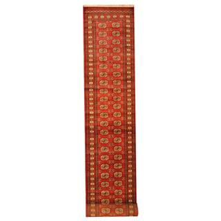 Herat Oriental Pakistan Hand-knotted Tribal Bokhara Red/ Ivory Wool Rug (2'8 x 17')