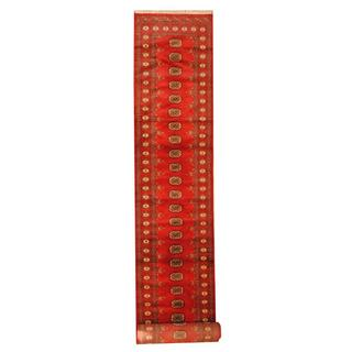 Herat Oriental Pakistan Hand-knotted Tribal Bokhara Red/ Ivory Wool Rug (2'8 x 16')