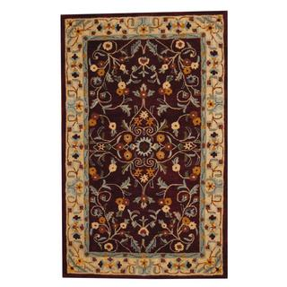 Herat Oriental Indo Hand-tufted Persian Isfahan Design Red/ Blue Wool Rug (5' x 8')