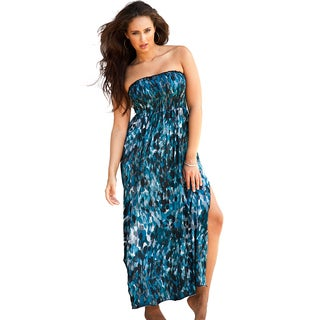 Lafayette Plus Size Blue Smocked Maxi Dress