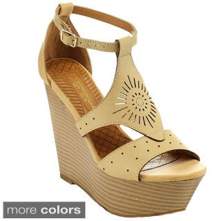De Blossom Collection Women's Citrus-2 Perforate Platform Ankle Strap Wedges