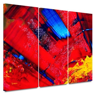 Byron May 'Passionate Explosion' 3-piece Gallery-wrapped Canvas