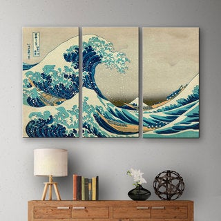 Katsushika Hokusai 'The Great Wave Off Kanagawa' 3-piece Gallery-wrapped Canvas