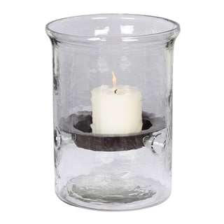 Small Hammered Glass Hurricane Candle Holder