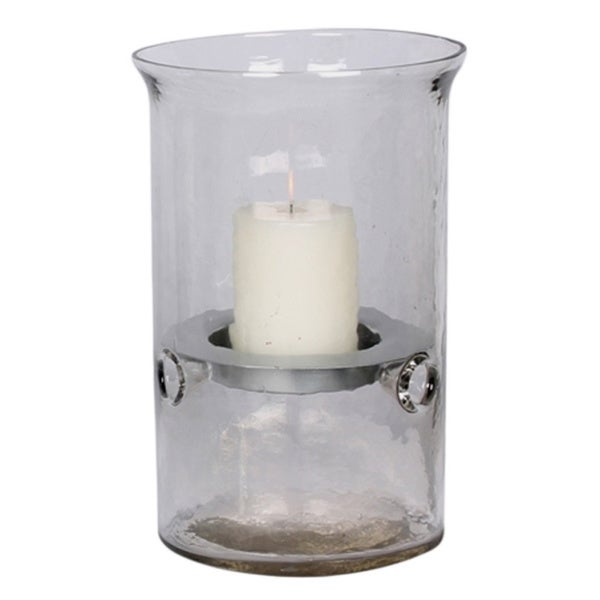 Medium Hammered Glass Candle Holder, Silver Insert