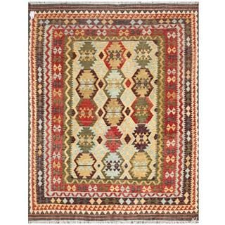 Herat Oriental Afghan Hand-woven Tribal Kilim Red/ Brown Wool Rug (7'9 x 9'9)