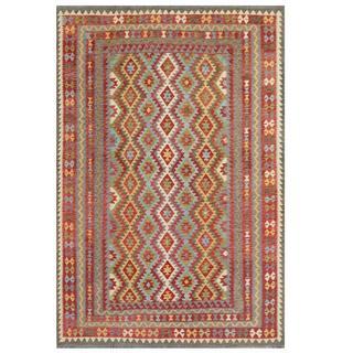 Herat Oriental Afghan Hand-woven Tribal Kilim Red/ Gray Wool Rug (7'10 x 11'6)