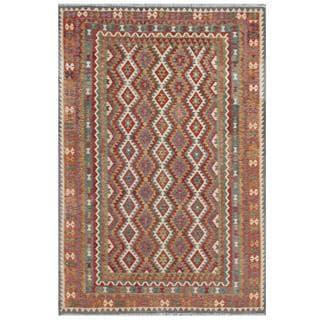 Herat Oriental Afghan Hand-woven Tribal Kilim Green/ Gray Wool Rug (7'10 x 11'9)