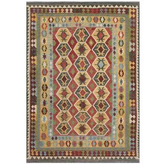 Herat Oriental Afghan Hand-woven Tribal Kilim Brown/ Red Wool Rug (7'11 x 11')