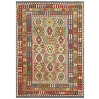 Herat Oriental Afghan Hand-woven Tribal Kilim Red/ Brown Wool Rug (7'11 x 11'5)
