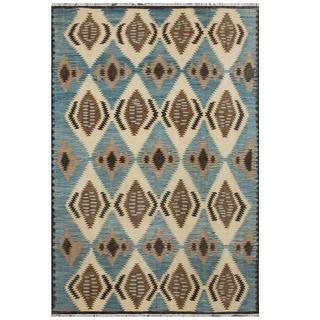 Herat Oriental Afghan Hand-woven Tribal Kilim Light Blue/ Black Wool Rug (7'10 x 11'9)