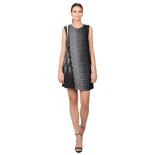 Phillip Lim Women's Black and White Wheat Print Sleeveless Silk Cocktail Dress