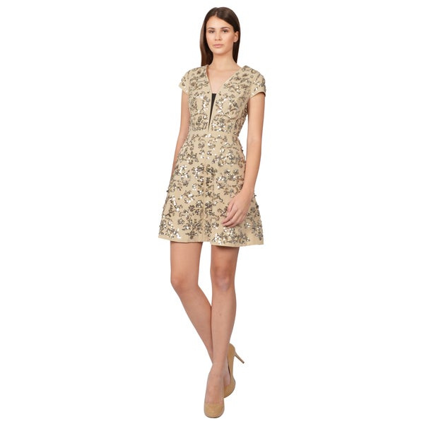 Rebecca Taylor Women's Ivory Scroll Embellished Sequin Cocktail Dress