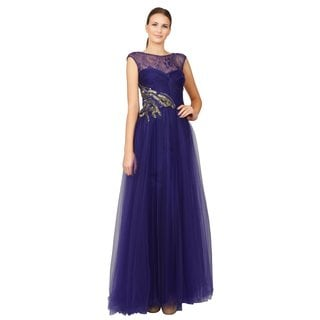 Alberto Makali Glam Purple Rhinestone Jeweled Sweetheart Tulle Evening Dress