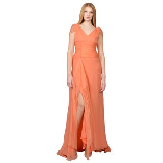 Oscar de la Renta Women's Coral Crinkled Silk Chiffon Draped Evening Gown Dress