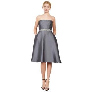 Badgley Mischka Women's Charcoal Strapless A-line Beaded-Waist Cocktail Dress