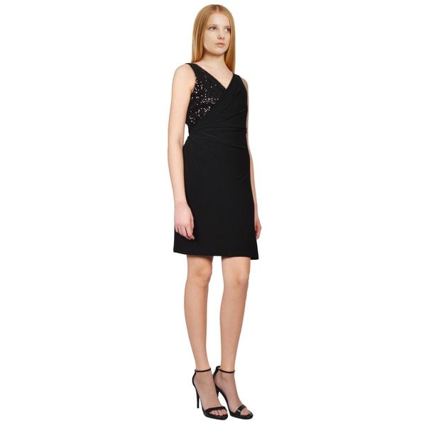 Badgley Mischka Women's Black Sequin Jersey Knit V-neck Sleeveless Cocktail Dress
