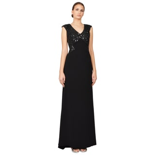 Badgley Mischka Women's Black Beaded Illusion Back Evening Gown