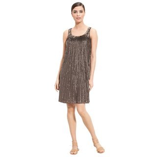 St. John Women's Couture Brown Flared Silk Sequin Trapeze Cocktail Dress