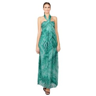 Laundry Green African Safari Mirage Halter Evening Dress