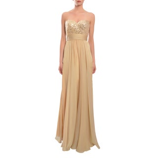 La Femme Nude Strapless Chiffon Empire Sweetheart Evening Gown