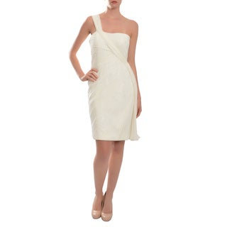 White Draped Silk Ruched One Shoulder Cocktail Dress