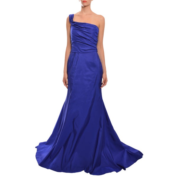 Naeem Khan Purple One Shoulder Asymmetric Trumpet Evening Dress
