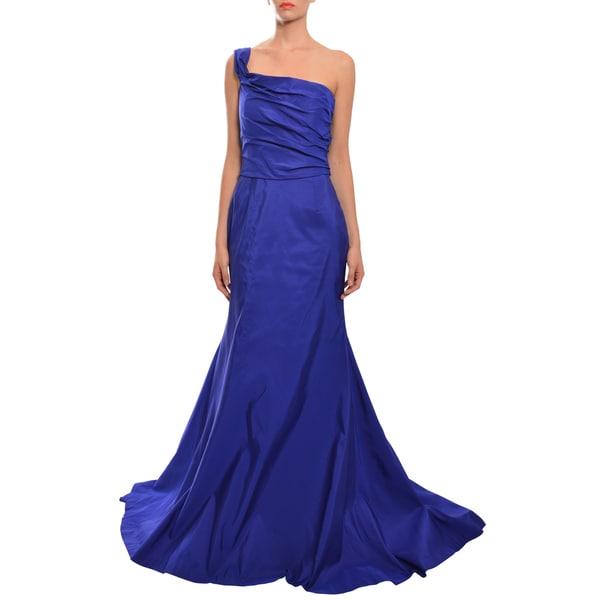 Naeem Khan Purple One Shoulder Asymmetric Trumpet Evening Dress