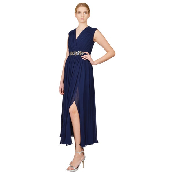 Badgley Mischka Beaded Waist Sapphire Chiffon Tea Length Evening Dress