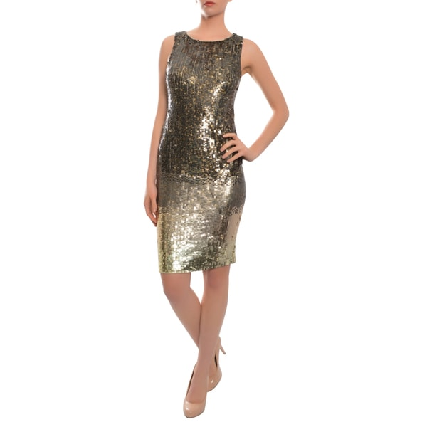Alice and Olivia Metallic Hues Baia Allover Sequin Party Dress