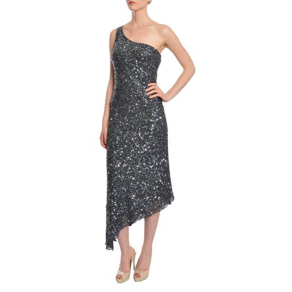 A.B.S. Women's Grey Fully Beaded Sequins One Shoulder Chiffon Evening Dress