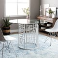 Greek Key White 47-inch Glass Top Dining Table