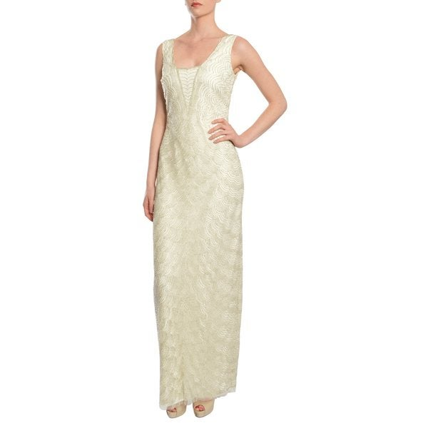 Aidan Mattox Precious Ivory Scallop Beaded Long Evening Gown Dress