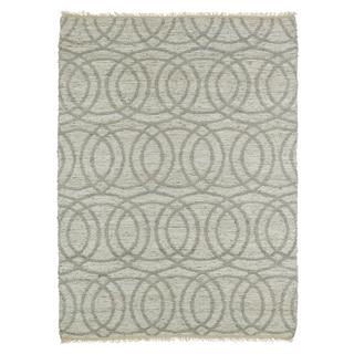 Handmade Natural Fiber Cayon Grey Circles Rug (7'6 x 9'0)