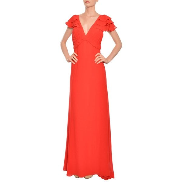 Escada Couture Red Silk Chiffon Pleated V-Neck Long Evening Gown Dress