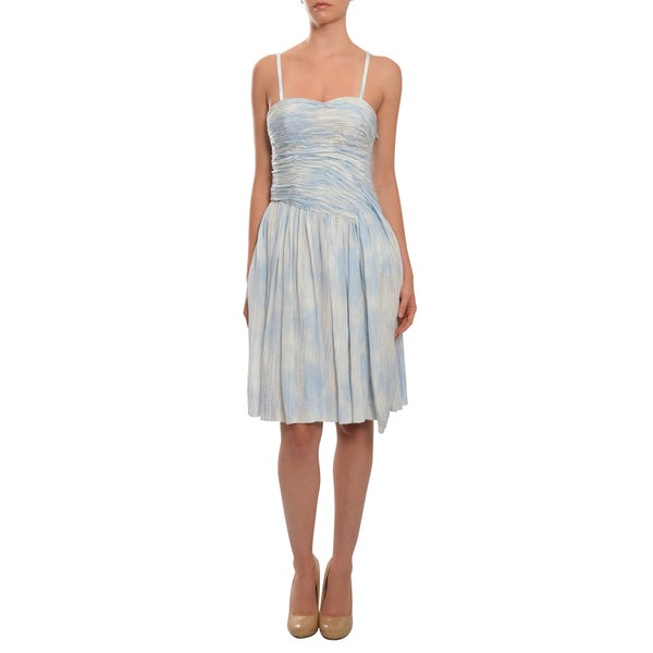 Thakoon Women's Blue/ White Gathered Bodice Crinkle Silk Cocktail Dress