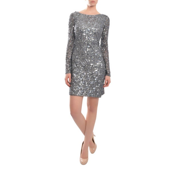 Aidan Mattox Women's Silver Sequin Long Sleeve Cocktail Dress