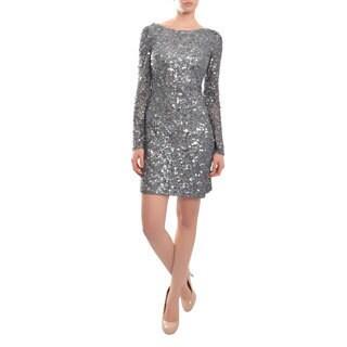 Aidan Mattox Women's Silver Sequin Long Sleeve Cocktail Dress