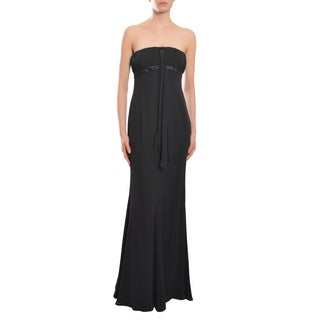 Escada Women's Black Ruched Silk Flared Hem Strapless Evening Gown