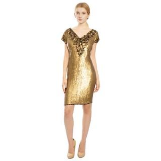 Escada Gold Fully Sequins Short Sleeve Cocktail Dress