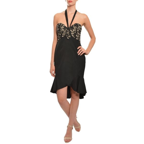 Temperley Black Lace Bustier Asymmetric Silk Halter Cocktail Dress