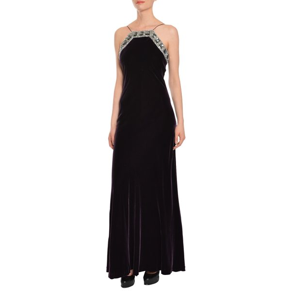 Badgley Mischka Purple Velvet Jeweled Formal Evening Gown
