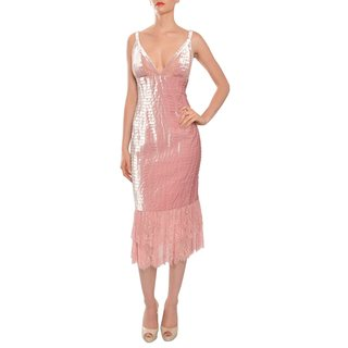 Carmen Marc Valvo Pink Velvet Tiered Cocktail Dress