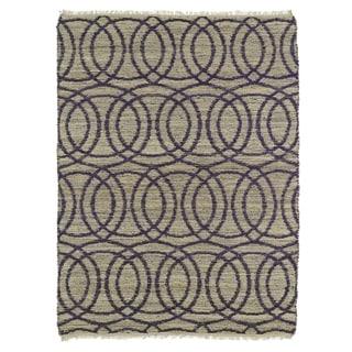 Handmade Natural Fiber Canyon Purple Circles Rug (8'0 x 11'0)