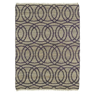 Handmade Natural Fiber Cayon Purple Circles Rug (7'6 x 9'0)
